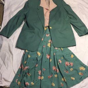 3 piece blazer, blouse & skirt. Refreshing colors.